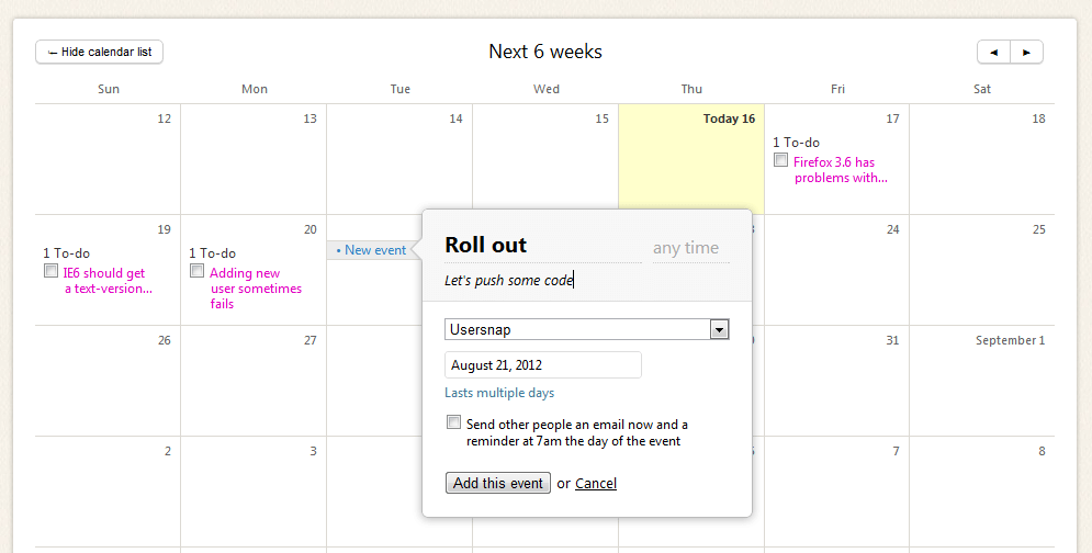 add an event to the basecamp calendar