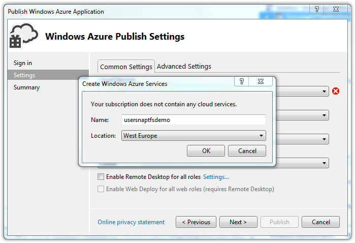 Windows Azure Publish Settings