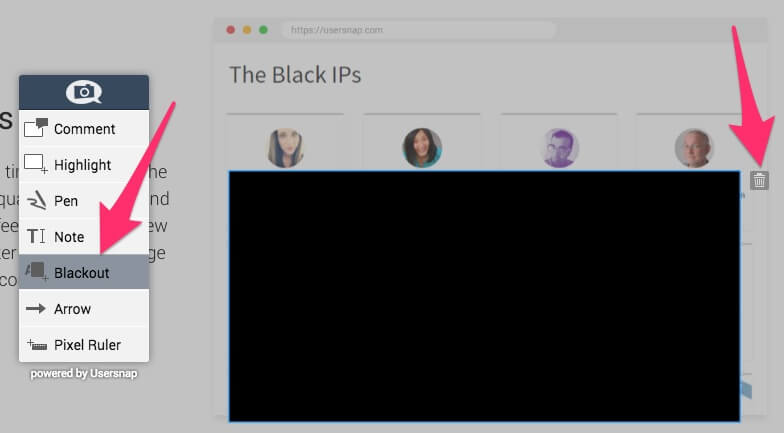 How the blackout tool for feedback widget works