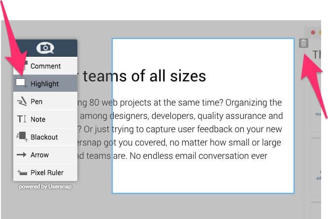 Highlight tool for feedback widget