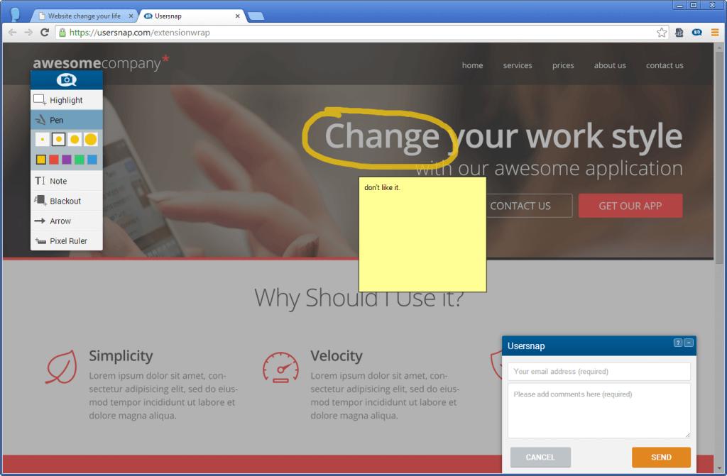 Visual feedback + bug reporting on responsive web sites