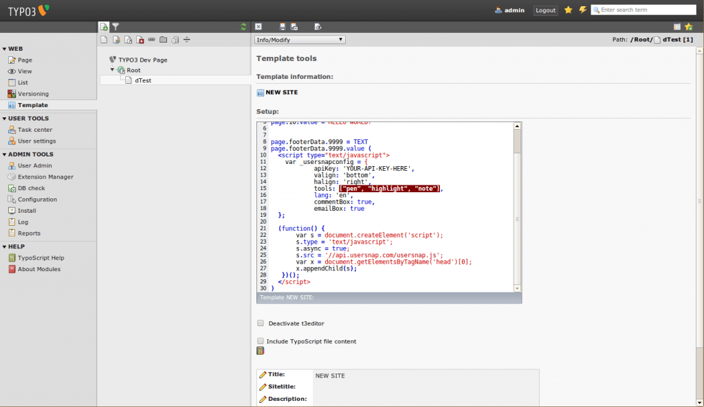 Usersnap snippet in TYPO3 CMS
