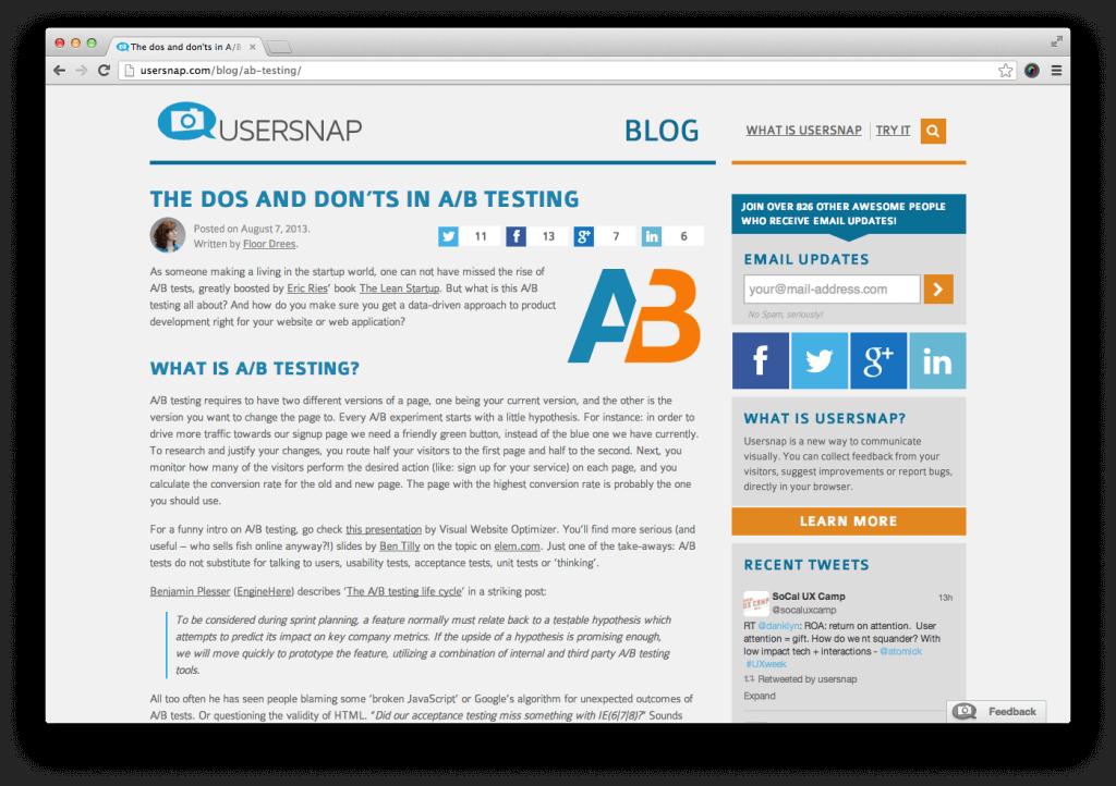 Usersnap blog layout