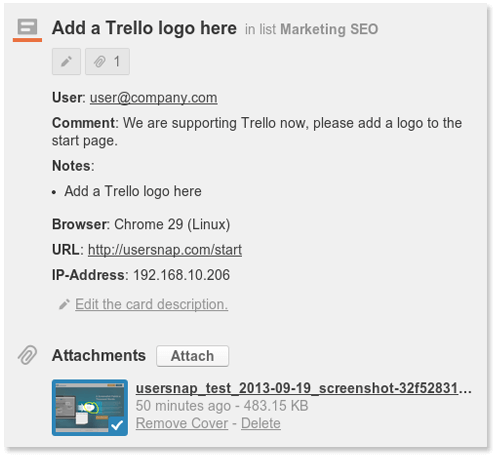 screenshots are added automatically as Trello cards
