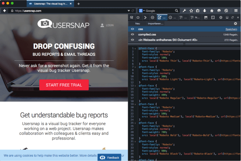 Firefox Developer Edition The Style Editor and Usersnap Addon