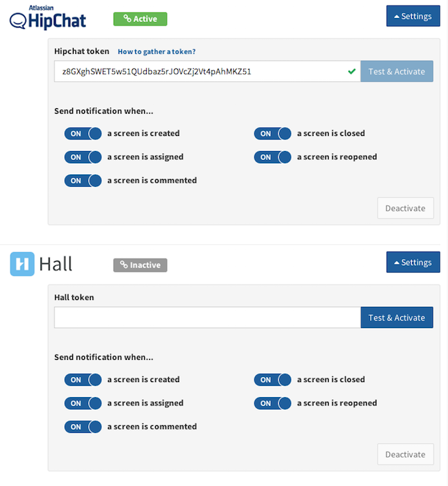 Notifications in Hall, Hipchat or Slack on every browser screenshot
