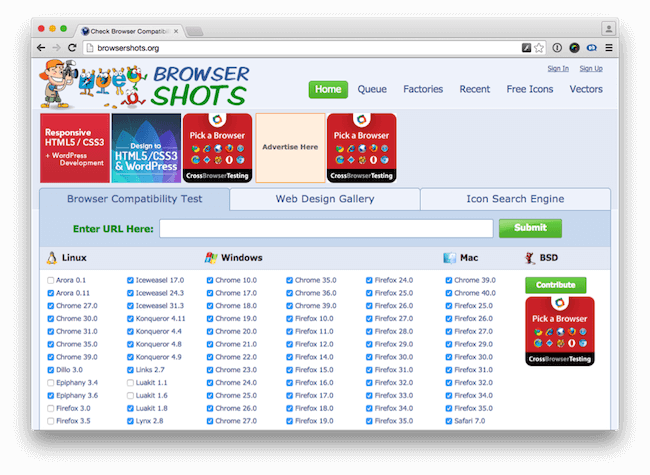 Browsertesting with browsershots.org