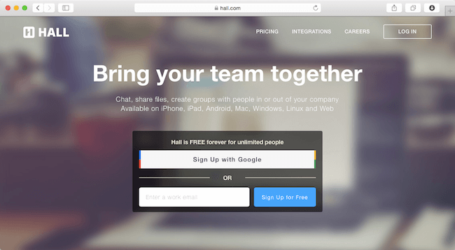 hall.com login page integration with asana project management tool