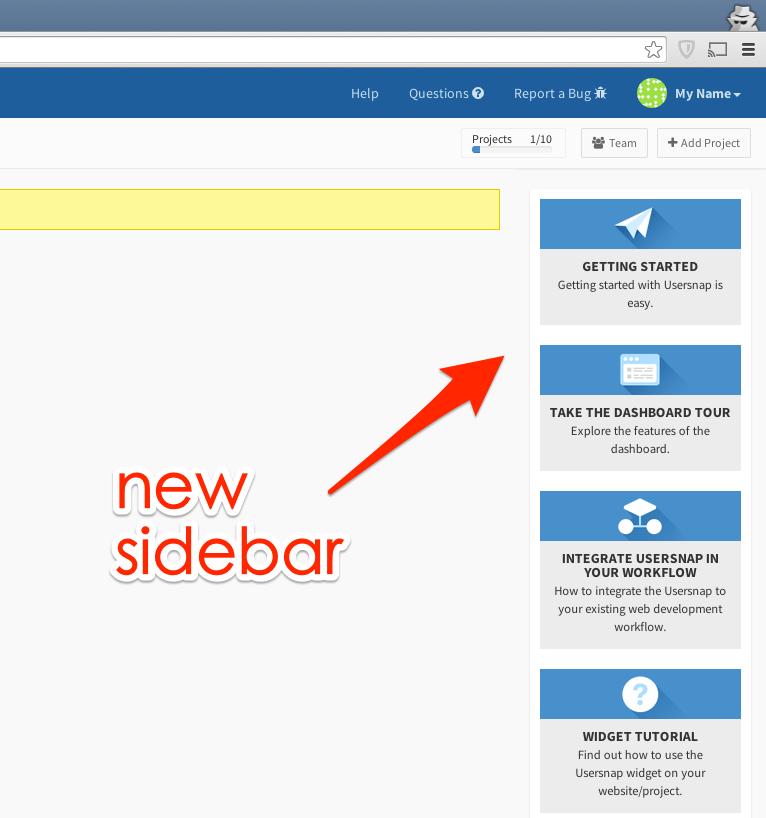 sidebar for usersnap bug tracking and feedback widget