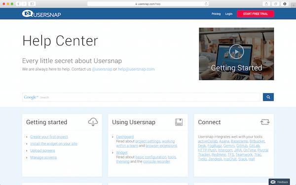 documentation & help center for customer support