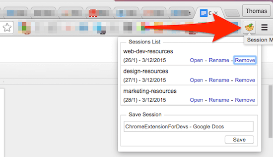 session manager chrome extensions for developers