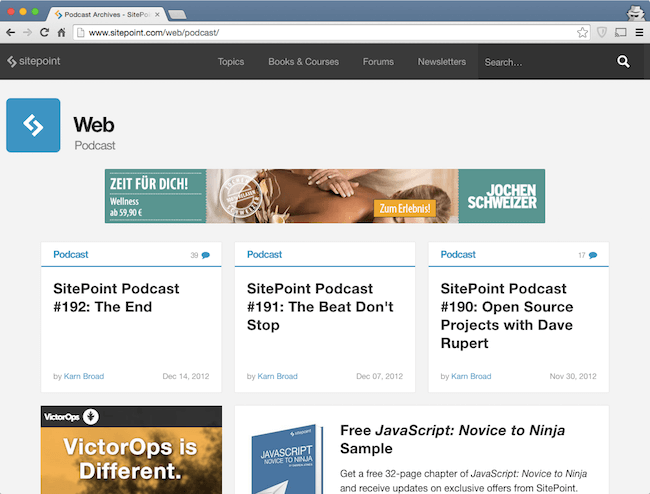 sitepoint podcast among best web dev podcasts