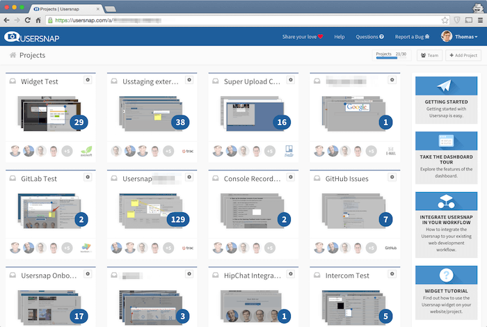 usersnap bug tracking dashboard