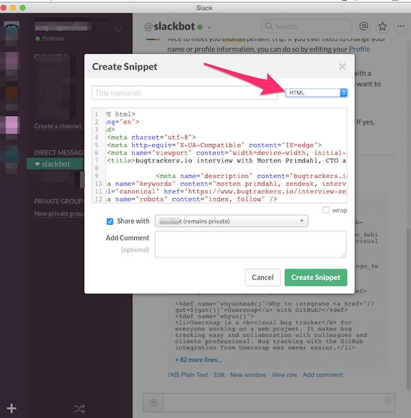 create code snippets inside slack