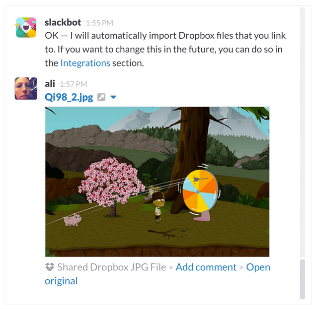 file upload slack with google drive and dropbox