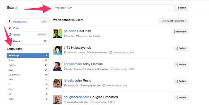 Github Tutorial Search people
