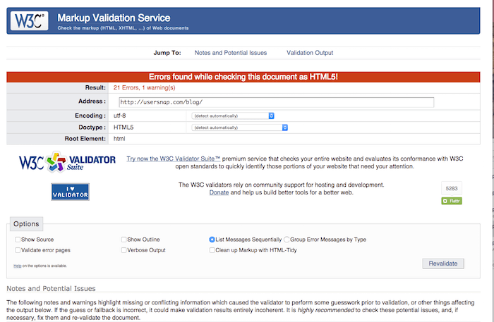 w3c validator tool for website performance and errors