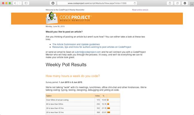 code project newsletter web development newsletter