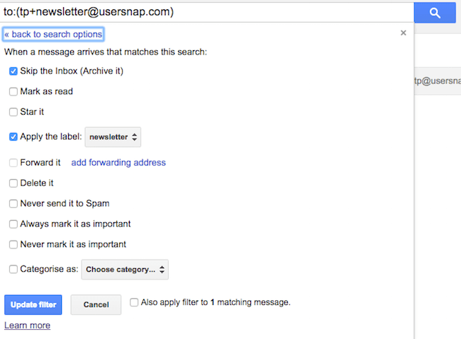 setting up filters for newsletter in gmail