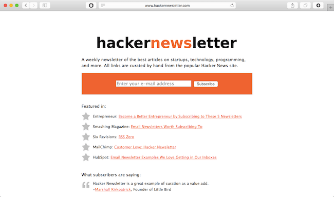 hackernewsletter best web development newsletter