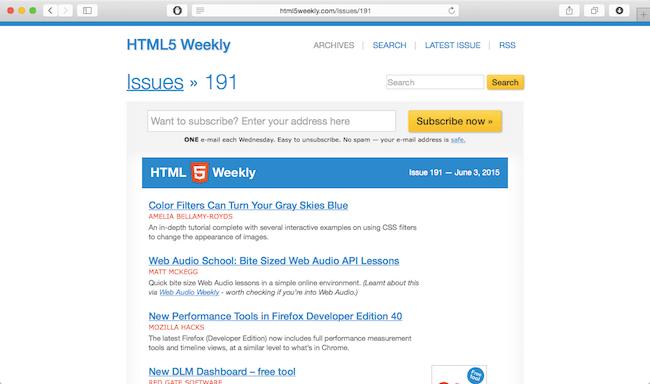 html5 weekly newsletter web dev newsletter