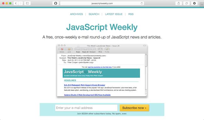javascript weekly newsletter