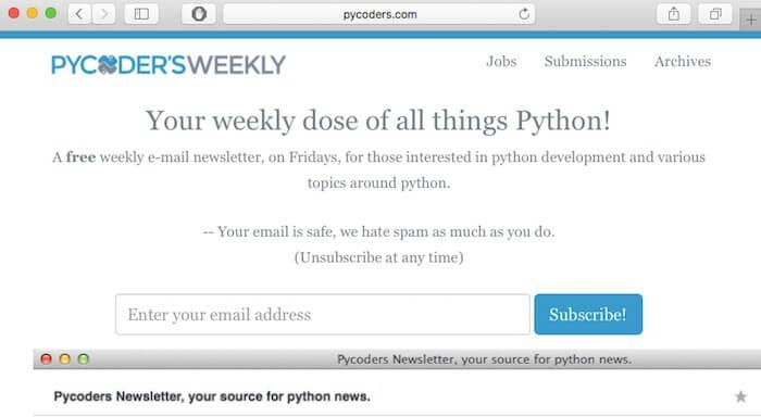 pycoders weekly web development newsletter