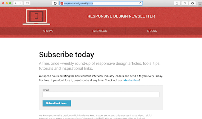 responsive design weekly newsletter