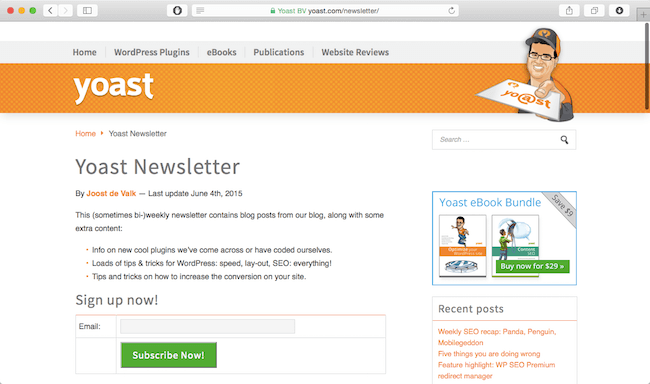 yoast wordpress newsletter