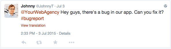 bug reports on twitter