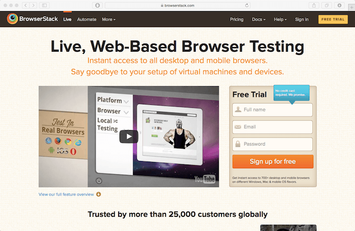 browserstack for mobile website testing