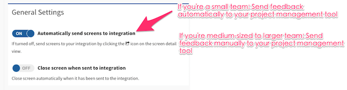 feedback tool settings for integrations