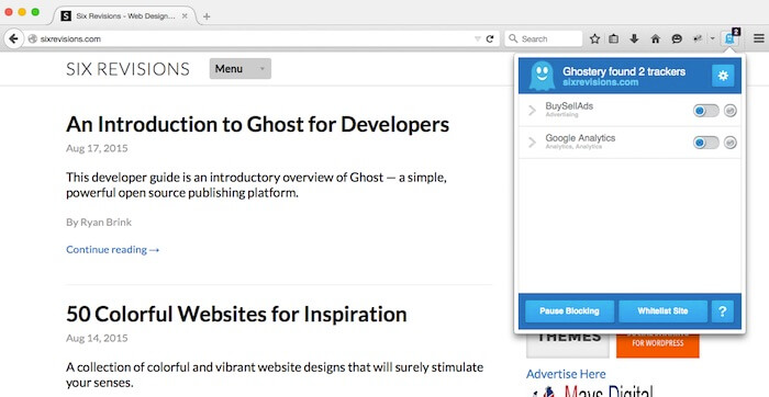 Ghostery Firefox Add-ons for developers and designers