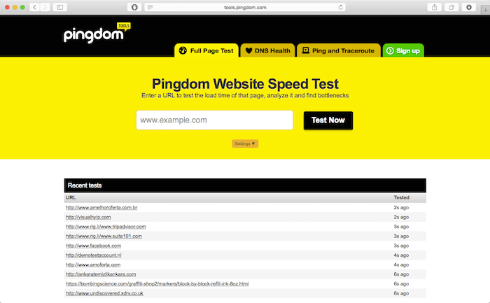 pingdom tools mobile testing