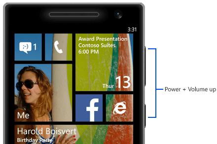 take a screenshot on windows phone