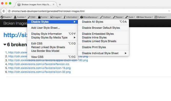 Web Developer Firefox Add-ons