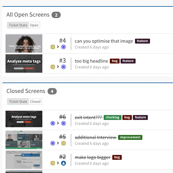 open closed screens usersnap dashboard