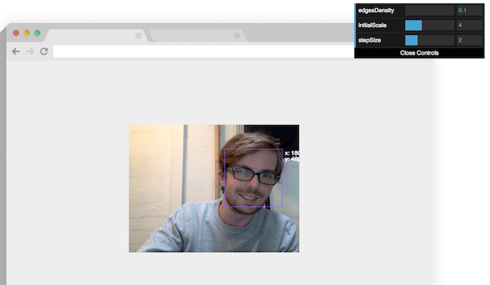real time face detection tracking js javascript