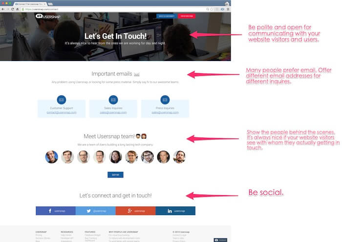 contact web page - creative feedback from website visitors