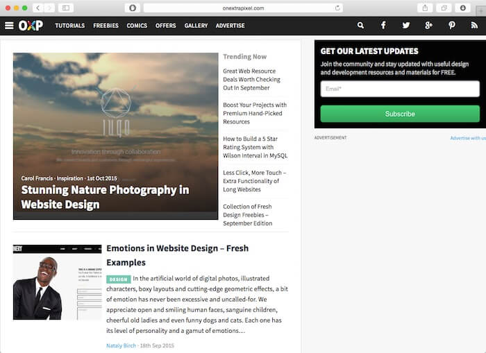onextrapixel web design blog