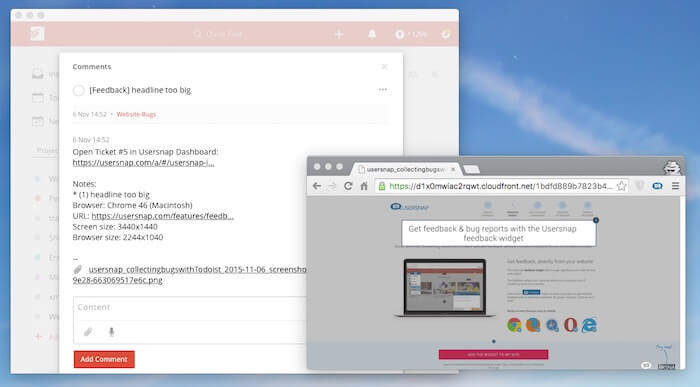 todoist integration bug tracking usersnap