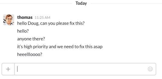 slack bug tracking message