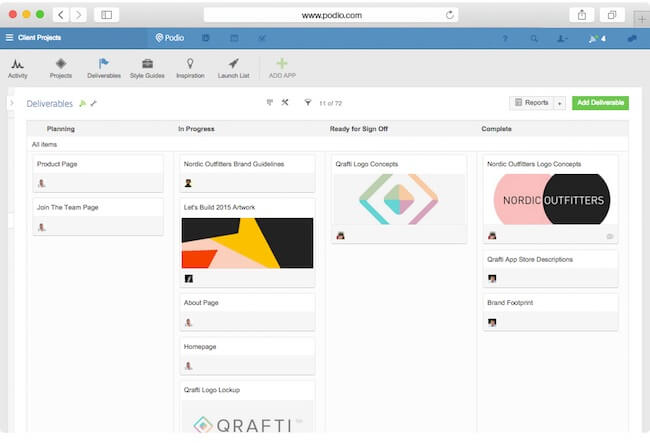 podio project overview for user feedback & bug tracking