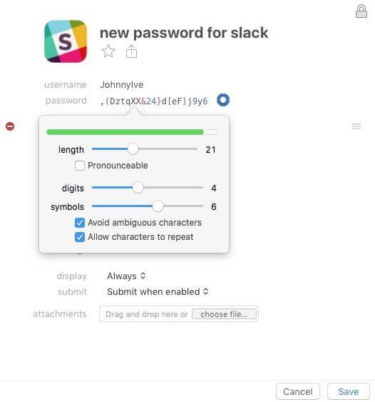 1Password recipe generator