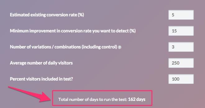 ab testing time calculator
