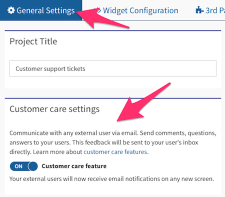 customer support software settings usersnap