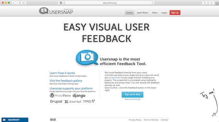 usersnap website relaunch 2013