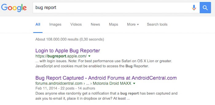 what is a bug report google
