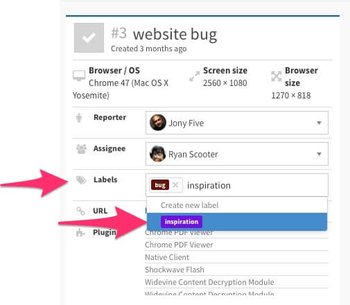 label manager usersnap bug tracking