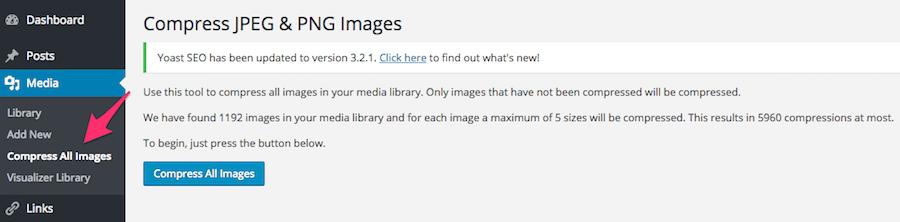 compress images wordpress